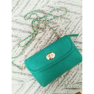Turquoise small shoulder bag purse gold accent